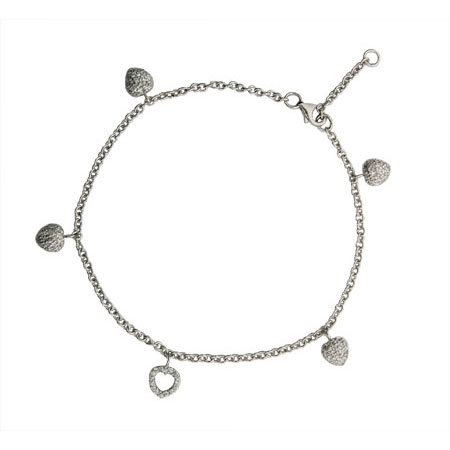 Tiffany Style Charm Anklet with Pave Hearts