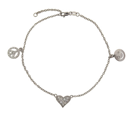 Peace, Love and Happiness CZ Silver Anklet