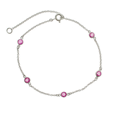 Sparkling Raspberry CZs By The Yard Anklet