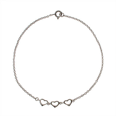 Sterling Silver Triple Hearts Anklet