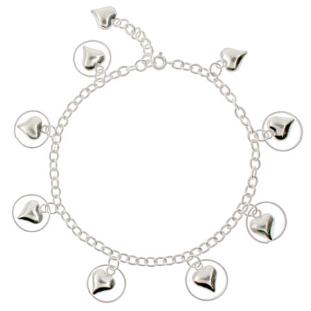 Dangling Circled Hearts Sterling Silver Anklet