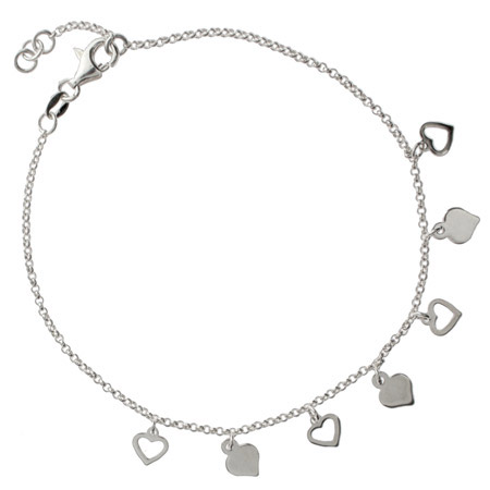 Sterling Silver Alternating Hearts Charm Anklet