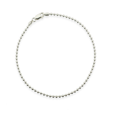 Sterling Silver 2.2mm Bead Anklet