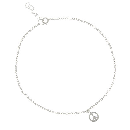 Sterling Silver Peace Sign Anklet