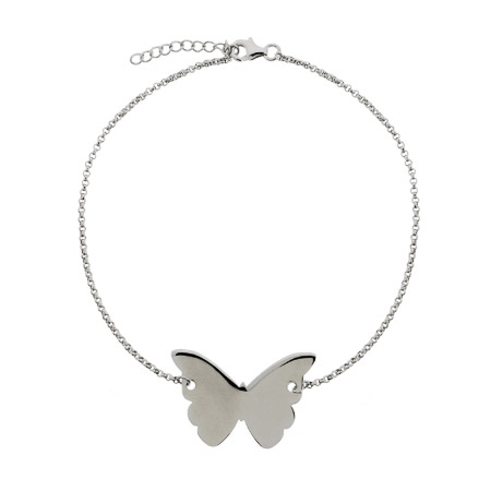 Engravable Sterling Silver Butterfly Anklet