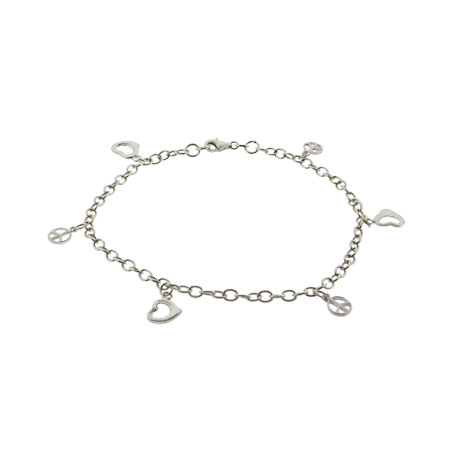 Dangling Heart and Peace Sign Sterling Silver Anklet