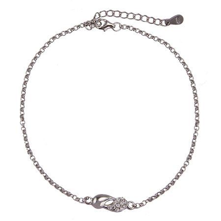 Sterling Silver and CZ Yin Yang Anklet