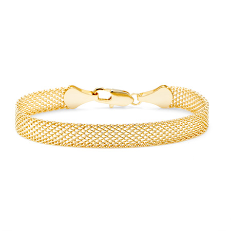 Gold Tone Mesh Bracelet with Lobster Clasp