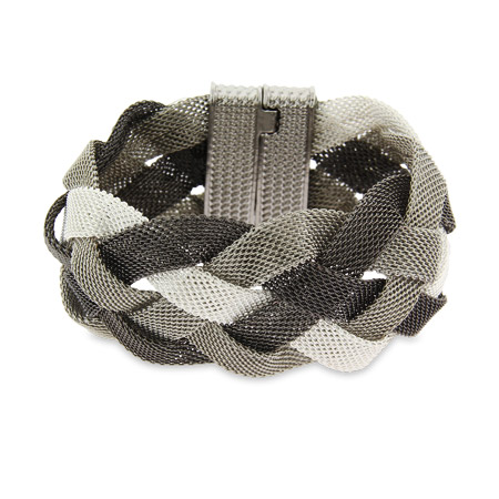 Tiffany Inspired Three Tone Braided Mesh Bracelet