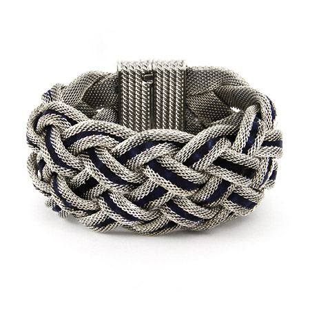 Designer Inspired Reversible Blue Velvet Braided Mesh Bracelet