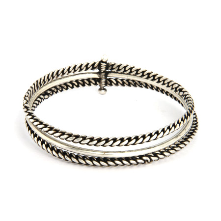 Oxidized Twisted Design 3 Piece Bali Bangle Bracelet