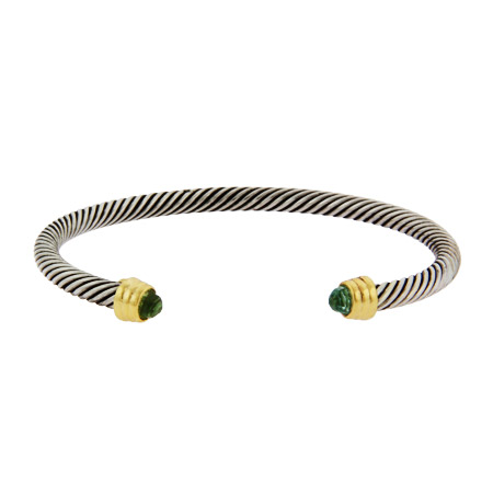 Designer Inspired Sea Green CZ Cable Bangle Bracelet
