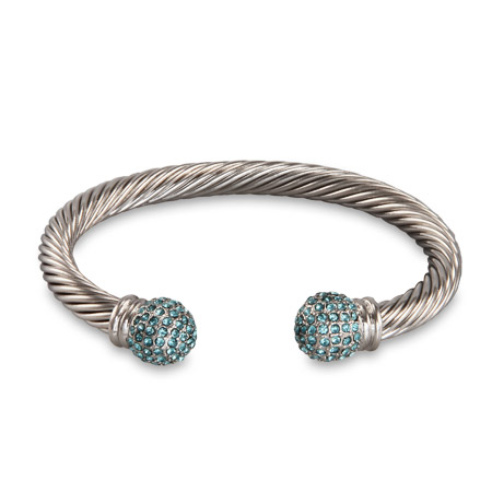 Designer Inspired Cable Cuff Bracelet with Pave Blue CZs