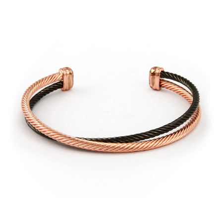 Designer Inspired Rose Gold and Black Crossover Cable Cuff Bracelet