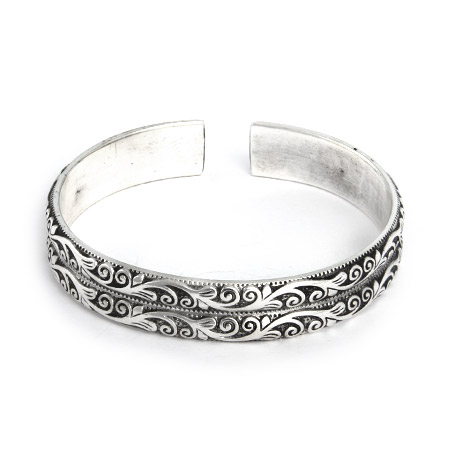 Double Row Vine Design Bali Cuff Bracelet