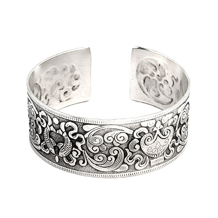 Elaborate Koi Fish Design Wide Bali Cuff Bracelet