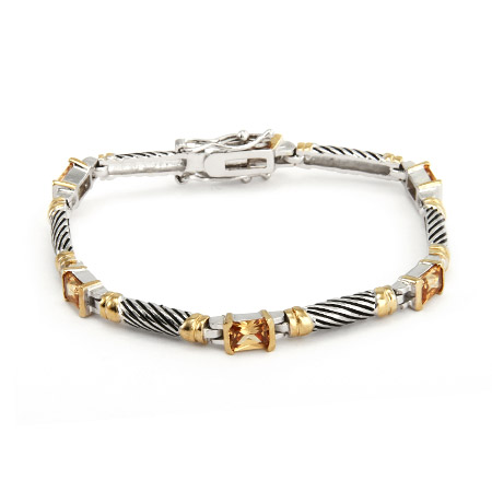Designer Inspired Cable Bracelet with Champagne Cubic Zirconia