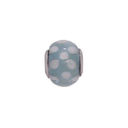 Blue & White Dotted Glass Oriana Bead - Pandora Bead & Bracelet Compatible