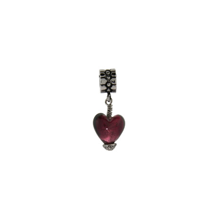 Purple Frosted Glass Dangle Heart Oriana Bead - Pandora Bead & Bracelet Compatible