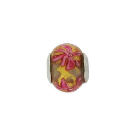 Pink on Gold Flower Bouquet Oriana Bead - Pandora Bead & Bracelet Compatible