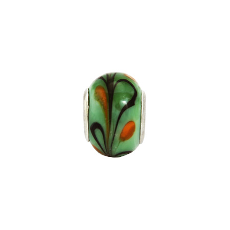 Orange Lime Swirl Glass Oriana Bead - Pandora Bead & Bracelet Compatible