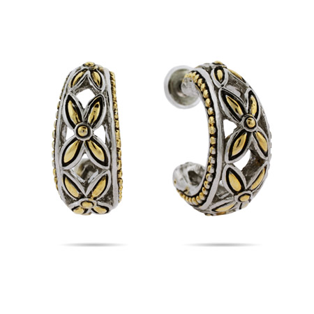 Designer Inspired Hoop Earrings in Leaf Design