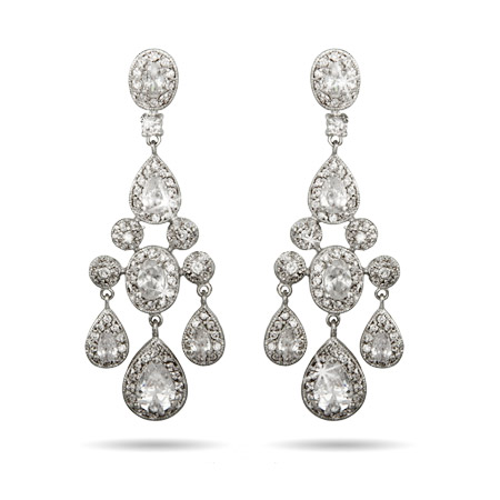 Red Carpet Style Teardrop and Oval CZ Chandelier Earrings