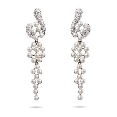 Lustrous Pearls and Pave CZ Chandelier Earrings
