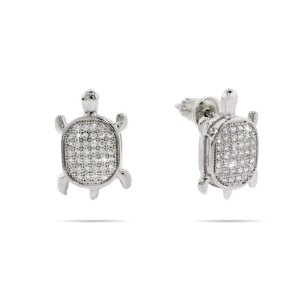 Dazzling Micropave CZ Turtle Earrings