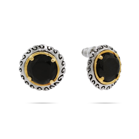 Designer Inspired Round Brilliant Cut Onyx CZ Stud Earrings