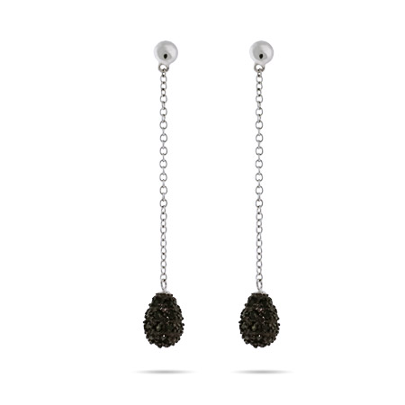 Glamorous Pave Black CZ Teardrop Dangle Earrings