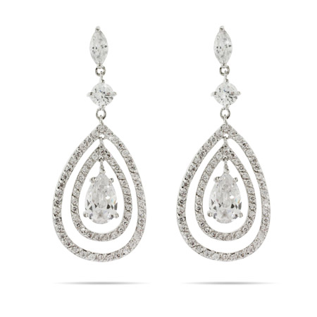 Red Carpet Style Triple Teardrop CZ Earrings