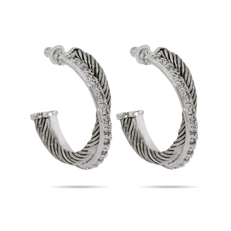 Designer Inspired Crossover CZ Cable Hoop Earrings