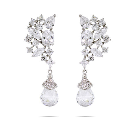 Elegant Array of CZs with Crystal Drop Earrings