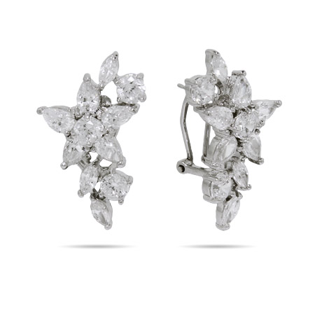 Dazzling Diamond CZ Flower Cocktail Earrings