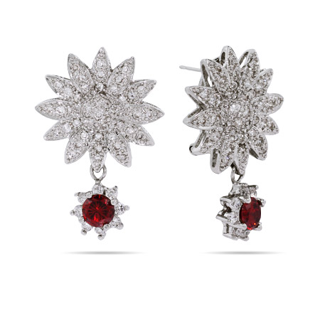 Glamorous Garnet Dangle CZ Sunflower Earrings