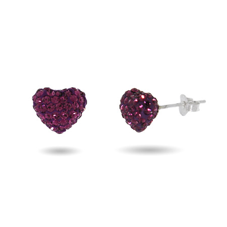 Dazzling Amethyst Swarovski Crystal Purple Heart Earrings