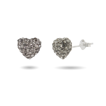 Sparkling Swarovski Crystal Heart Stud Earrings
