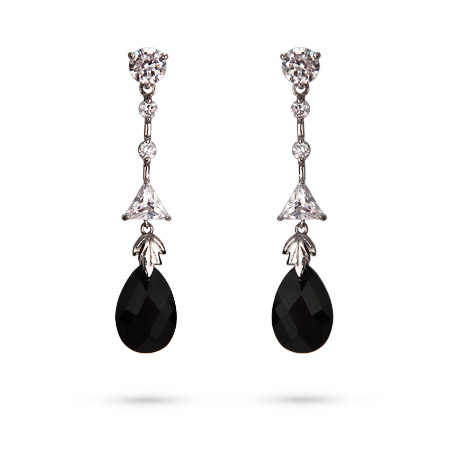 Glamorous CZ and Pear Cut Onyx Crystal Dangle Earrings