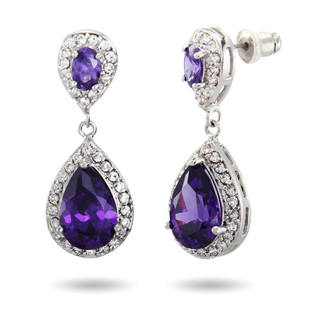 Dazzling Amethyst CZ Teardrop Earrings