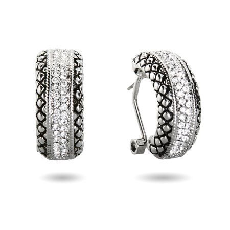 Designer Inspired Pave CZ Bali Style Leverback Earrings