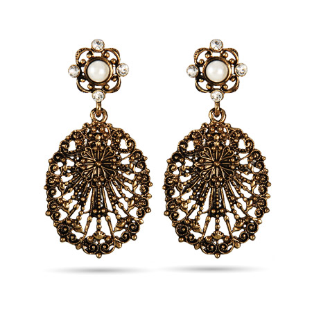 Golden Lace Vintage Style Oval Drop Earrings