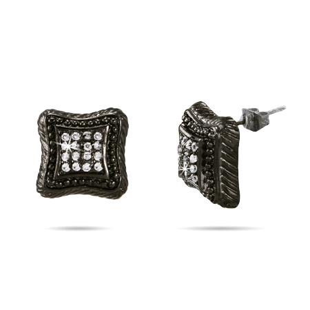 Designer Inspired Black Rhodium CZ Cushion Studs