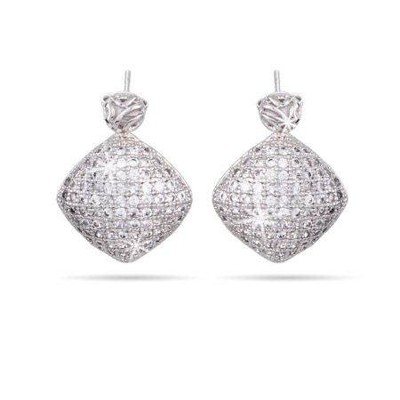 Diamond Micropave CZ Shimmering Drop Earrings