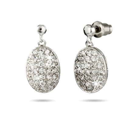 Stunning Pave CZ Oval Drop Earrings