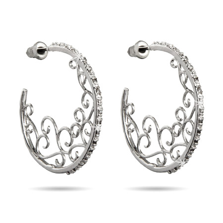 Farrah's Sparkling CZ Filigree Design Hoop Earrings