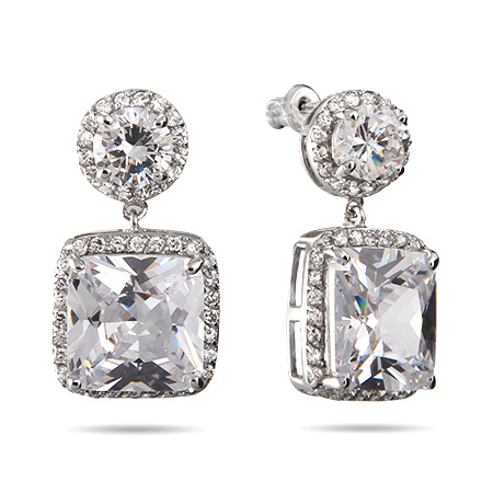 Julia's Glamorous Cushion Cut CZ Dangle Earrings