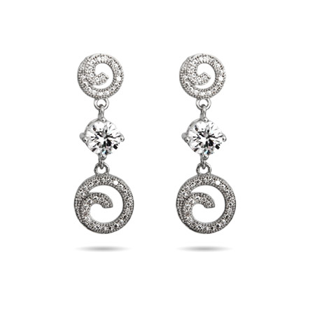 Elegant Circle Drop Micro Pave CZ Earrings