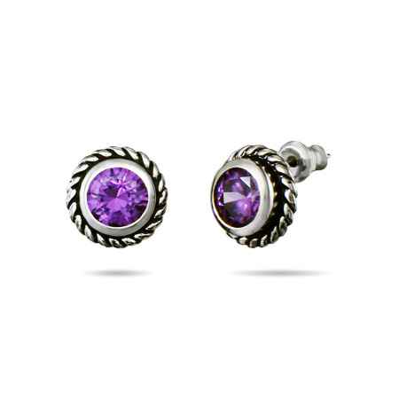 Designer Inspired Cable Amethyst CZ Stud Earrings
