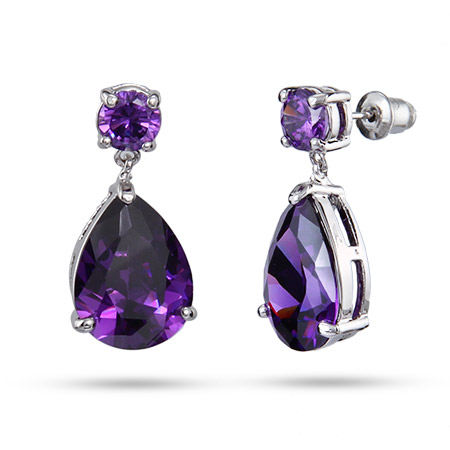 Amy's Stunning Red Carpet Style Amethyst CZ PearDrop Earrings